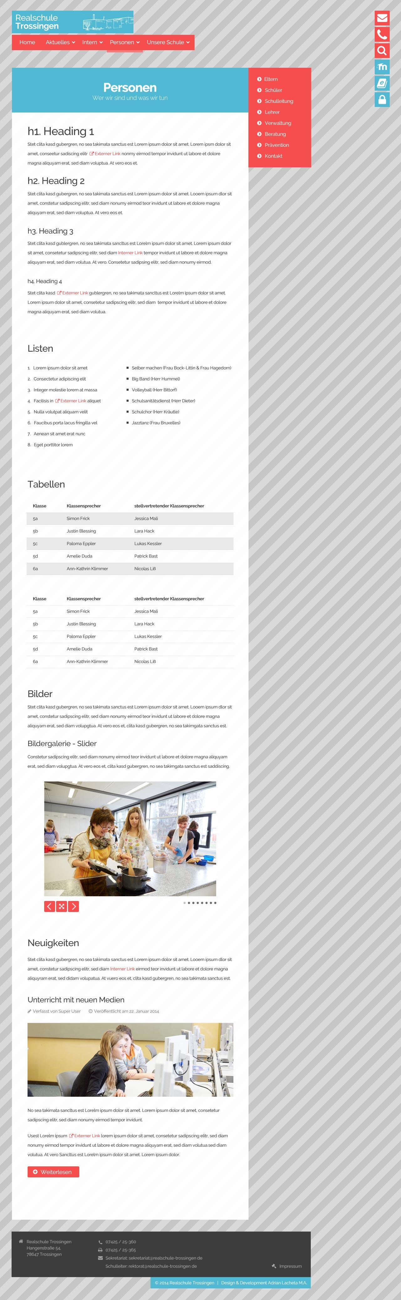 Adrian Lacheta Mediadesign - Website Realschule Trossingen